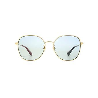 Gucci Urban Oversize Metal Round Sunglasses In Gold Blue