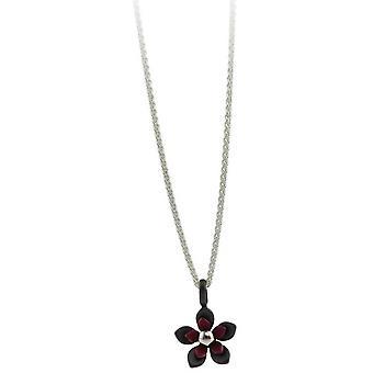 TI2 titanio nero indietro cinque petalo fiore pendente - Coffee Brown