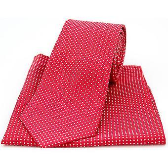 David Van Hagen Dot Tie and Pocket Square Set - Red/White