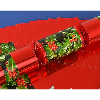 8 Red Foil Holly & Berries Make & Fill Your Own Christmas Crackers Kit