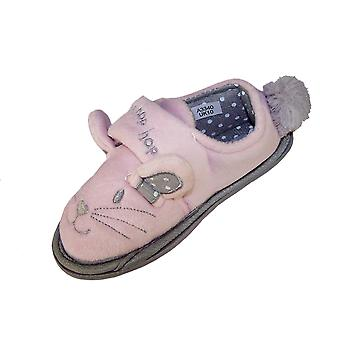 Infant girls pink and silver mouse slippers