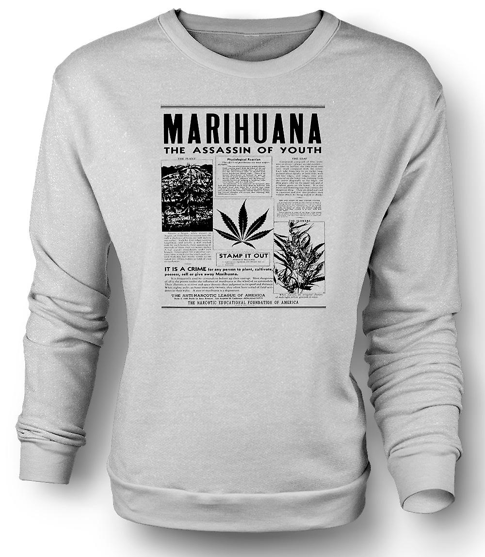 Mens Sweatshirt Marihuana Hash - Assassin Of Youth
