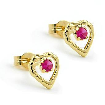 Enchufe de oro 8Kt rosa de corazón con cubic zirconia