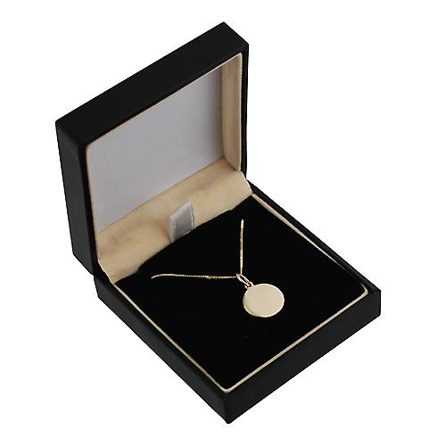 9ct Gold 13mm plain round Disc with a curb Chain 16 inches Only Suitable for Children