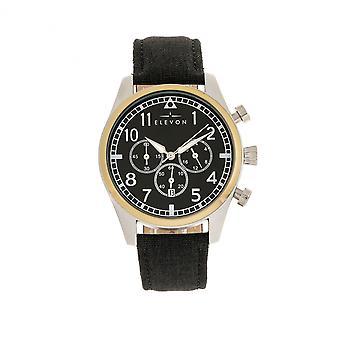 Elevon Curtiss Chronograph Nylon-Overlaid Leather-Band Watch - Gold/Black