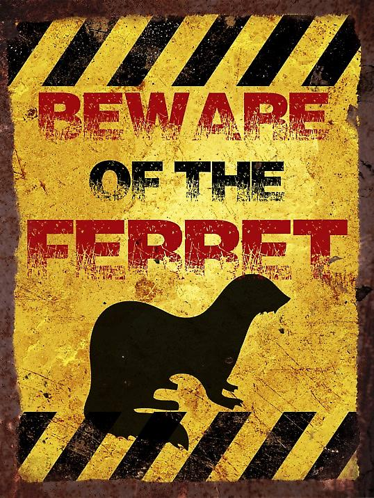 Vintage Metal Wall Sign - Beware of the ferret
