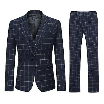 Allthemen Men's Two-Button Slim Black Plaid Fashion 3-Piece Suit Blazer Vest Trousers
