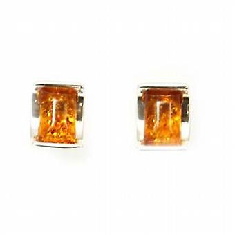 The Olivia Collection Sterling Silver Arc Shaped Amber Stud Earrings
