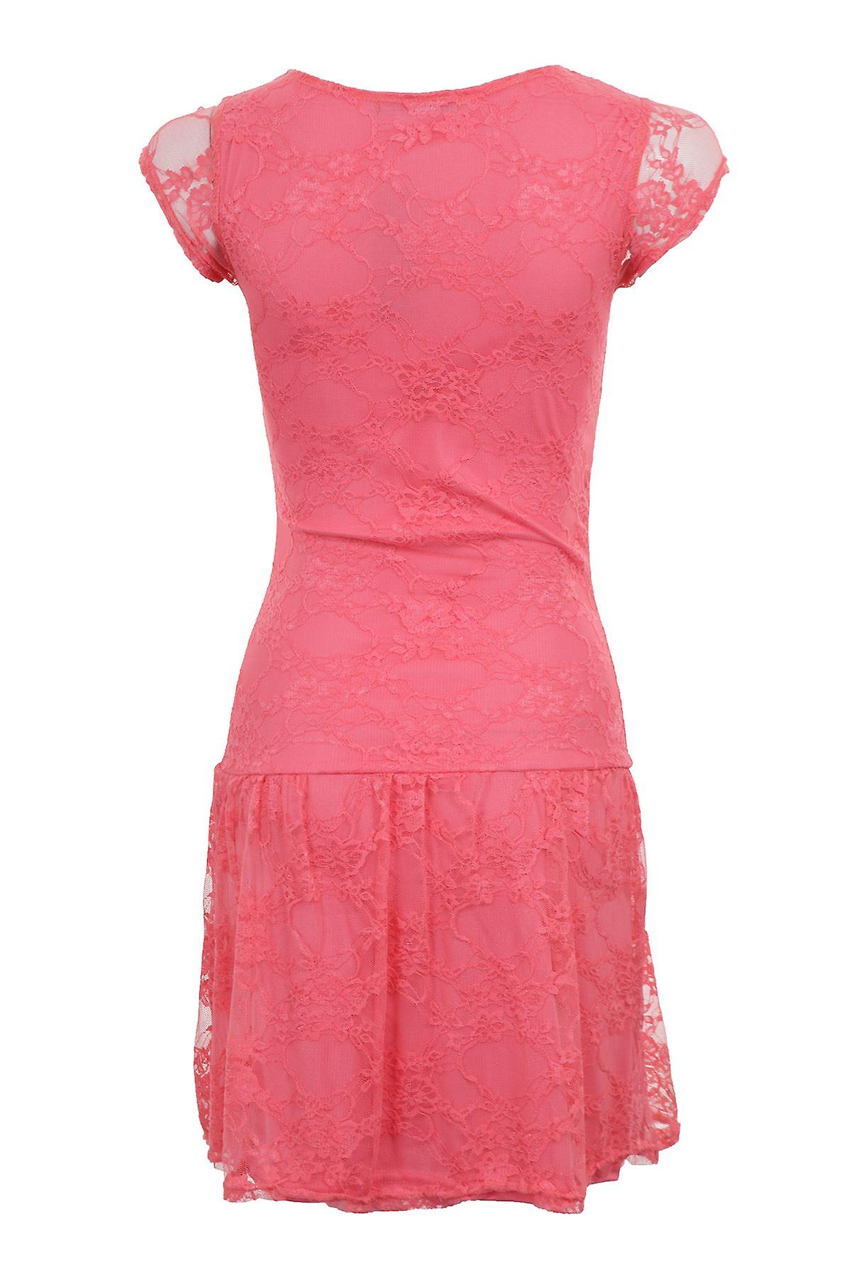 New Ladies Cap Sleeve Lined Floral Lace Mesh Women's Bodycon Dress