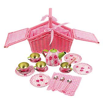Bigjigs Toys Pink Basket Tea Play Set 19 Pieces Childrens Kids Picnic Roleplay