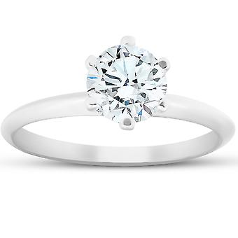 ct 1 جولة سوليتير الماس خاتم الخطوبة 14 ك الذهب الأبيض