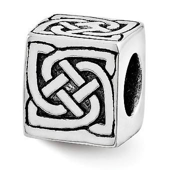 925 Sterling Argent Poli Antique finition Reflections Celtic Block Bead Charm