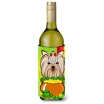 Yorkie Yorkshire Terrier St. Patrick's Day Wine Bottle Koozie Hugger BB1948LITERK