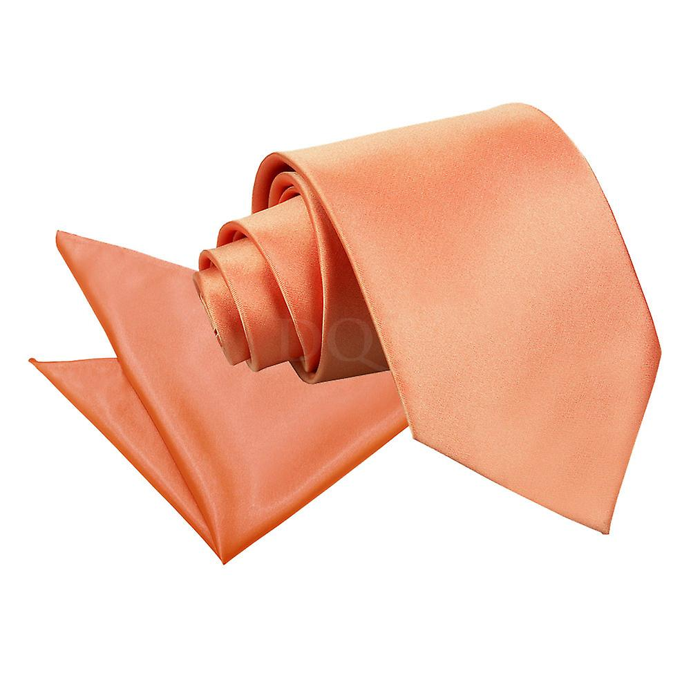 Plain Coral Satin Tie 2 pc. Set