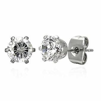 Stedelijke man 4mm ronde CZ Set RVS Stud Earrings Stud Earrings