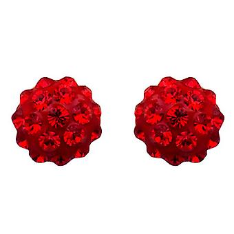 Butler and Wilson Small Round Siam Red Pave Stud Earrings