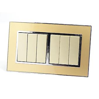I LumoS AS Luxury Gold Mirror Glass Double Frame 6 Gang 2 Way Rocker Light Switches