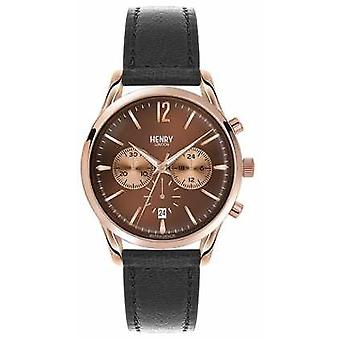 Henry London Unisex Harrow sort læder rem brun Dial HL39-CS-0054 Watch