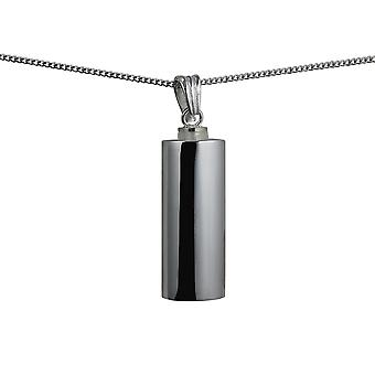 Silver 33x13x10mm handmade plain oval Memorial Cylinder with a curb Chain 24 inches