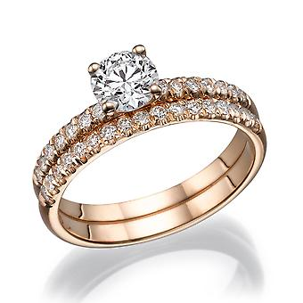3/4 Karat F SI1 Diamant-Verlobungsring 14k Rose Gold Bridal Set Engagement Set Micro Pave