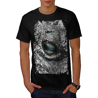 Aligator Eye Wild Animal Men Black T-shirt | Wellcoda