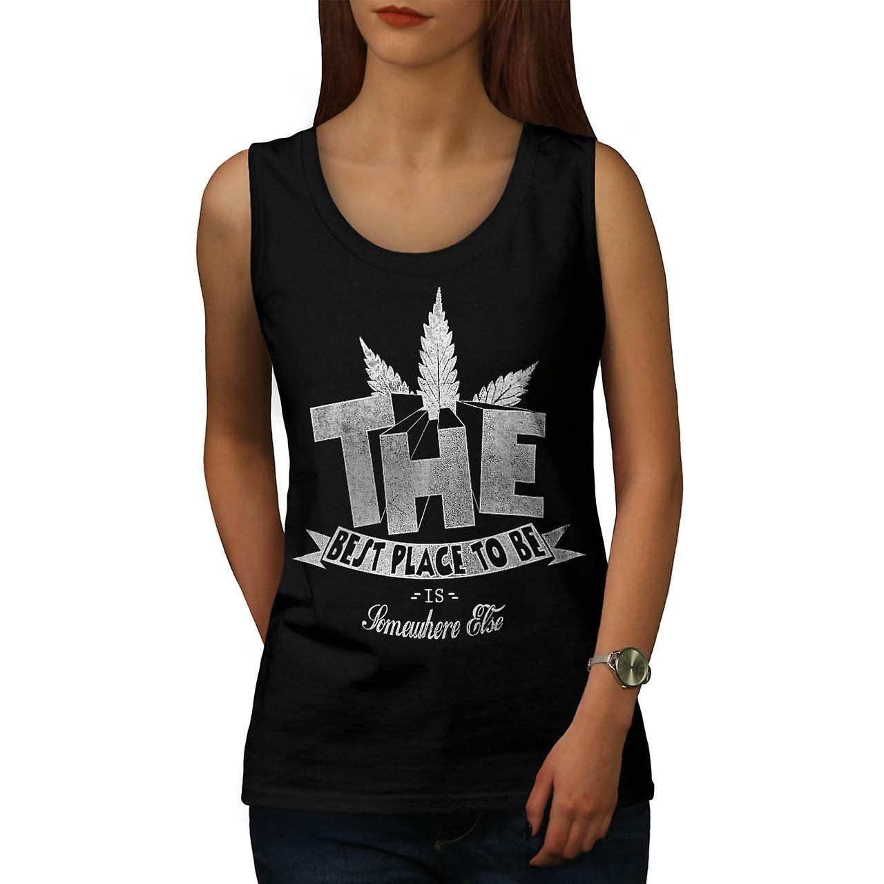 Weed Dope Place To Be Best Smoke Women Black Tank Top | Wellcoda