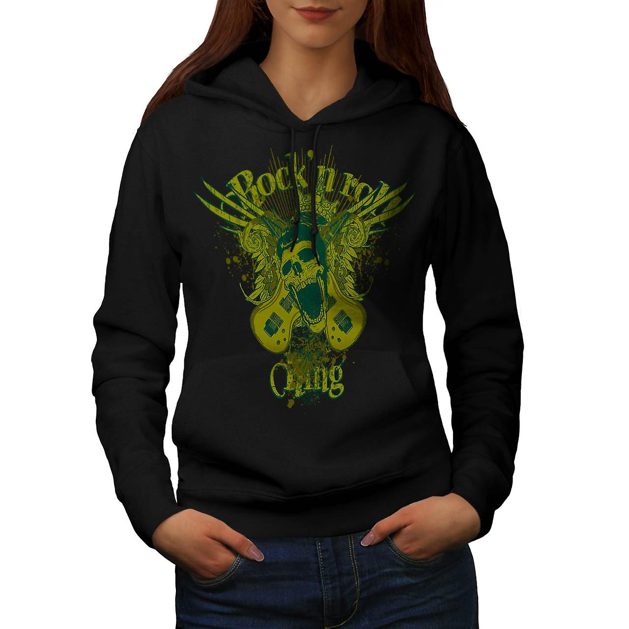 Rock and Roll King Guitar Skull Women Black Hoodie | Wellcoda