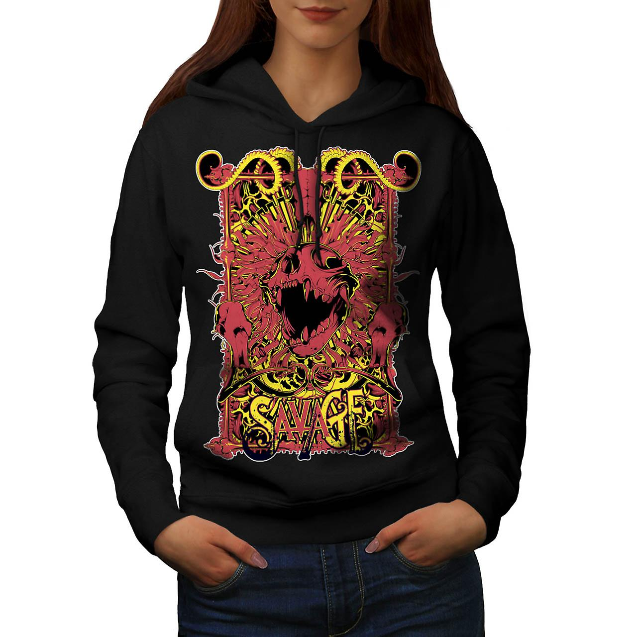 Savage Monster Death Hell Devil Women Black Hoodie | Wellcoda