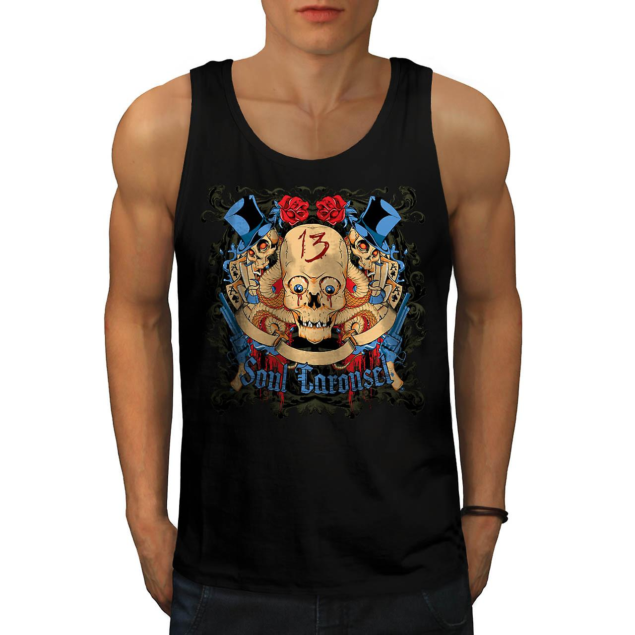 Soul Carousel Skull Terror Ride Men Black Tank Top | Wellcoda