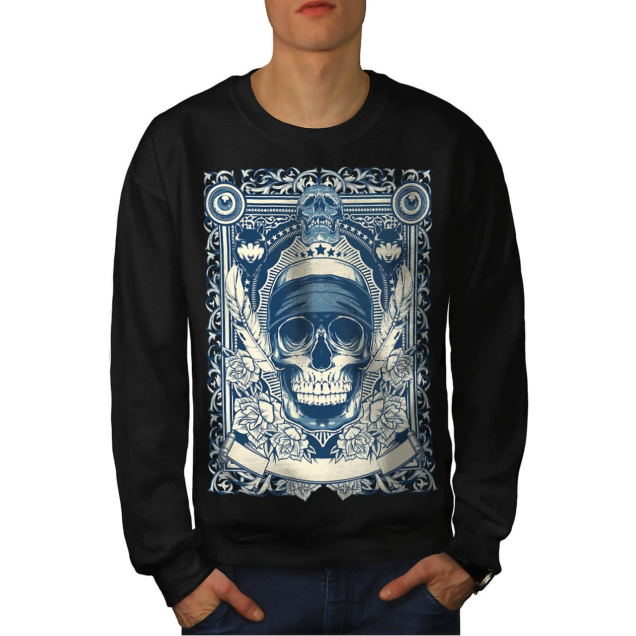 Skull Gangster Head Burial Card Men Black Sweatshirt | Wellcoda