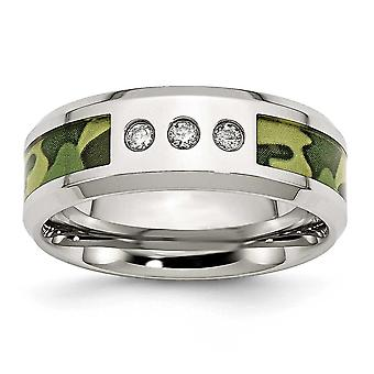 Stainless Steel Polished Camoflauge 1/10ct. Tw. Diamond 8mm Band Ring - Ring Size: 8 to 13