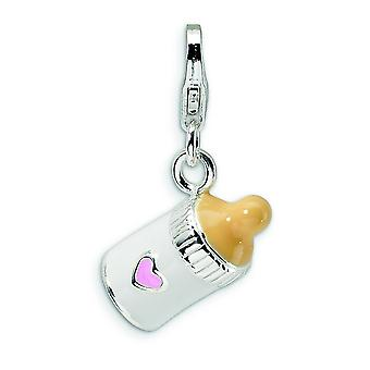 Sterling Silver 3-D Enameled Baby Bottle With Lobster Clasp Charm - 2.5 Grams - Measures 19x14mm