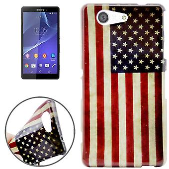 Protective case pouch pouches TPU for phone Sony Xperia Z3 compact retro flag United States