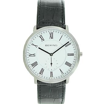 Bering mens watch wristwatch slim classic - 11139-407 leather
