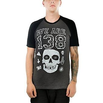 Too Fast Mens We Are 138 Raglan Tshirt Skull Symbols Scattered Grey Black