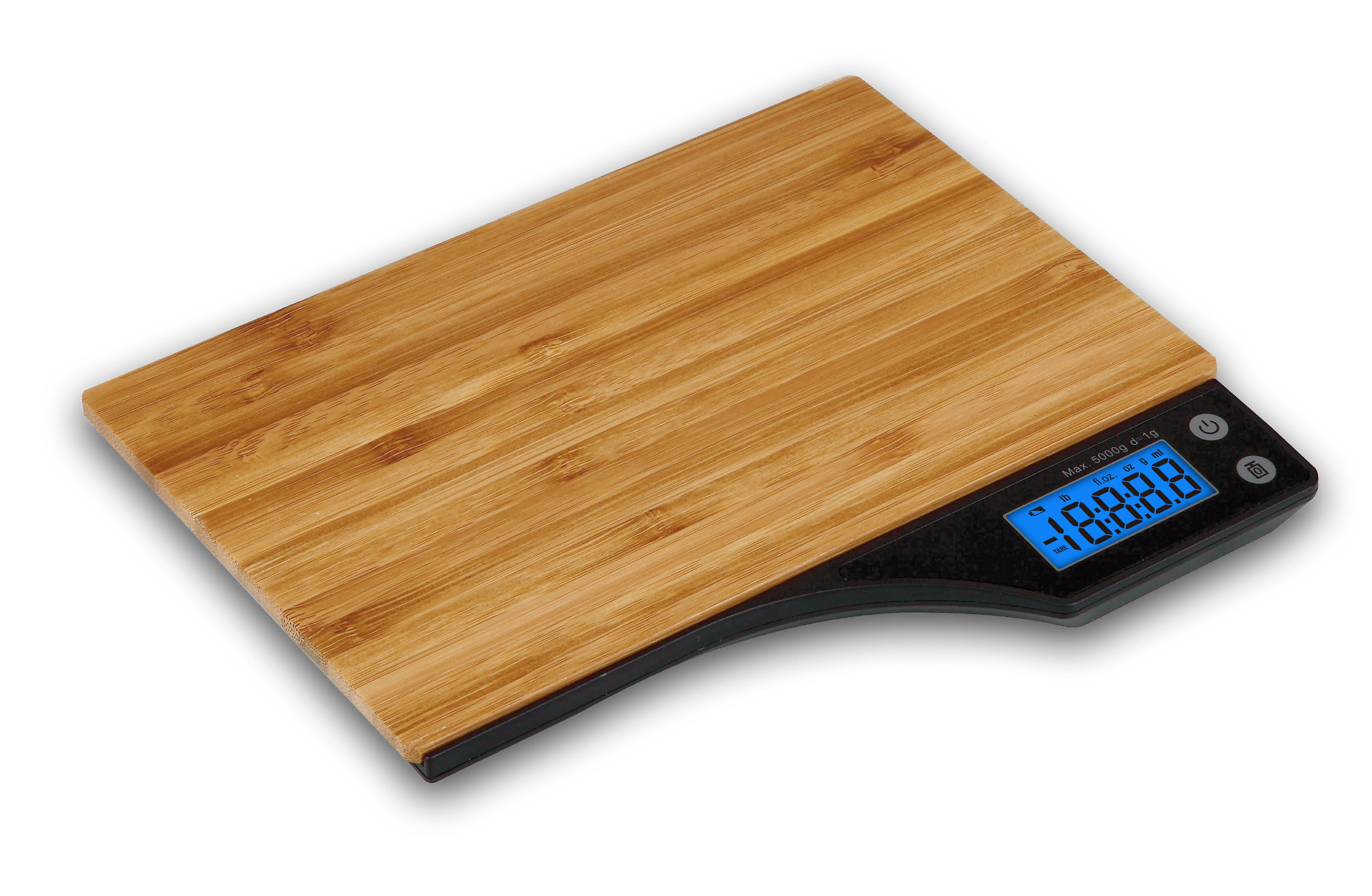 Kabalo Wooden Bamboo Kitchen Household Food Cooking Weighing Scale 5kg capacity 5000g/1g, Batteries Included! Flat Slim Design, Premier LCD Digital Electronic, with blue backlight