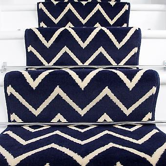 60cm Width - Modern Navy Zig Zag Chevron Stair Carpet