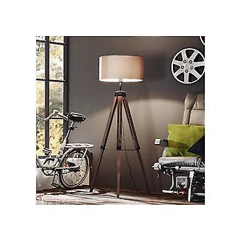 Eglo Tripod Lamp Wooden Base With Taupe Shade