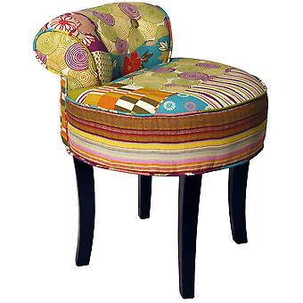 Patchwork - Shabby Chic Chair Padded Stool / Wood Legs - Multi-coloured