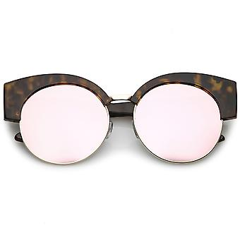 Women's Half Frame Oversize Cat Eye Sunglasses Round Mirrored Flat Lens 59mm