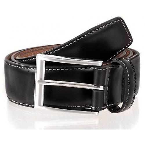 Dents Contrast Stitch Leather Belt - Black