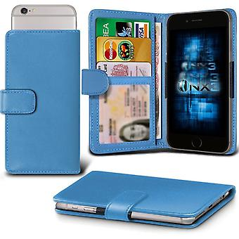 ONX3 Xiaomi Redmi 2 Leather Universal Spring Clamp Wallet Case With Card Slot Holder and Banknotes Pocket-Light Blue
