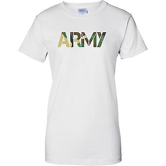 Army - CamouFlage DPM Words - Military Soldier - Ladies T Shirt