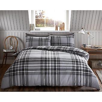 Tartan sjekk børstet bomull Flannelette Duvet dekker flanell sengetøy sett
