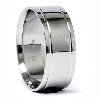 Mens Double Inlay Wedding Band 950 Platinum