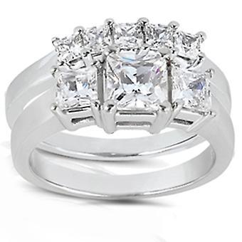 2ct Princess Cut Diamond Ring Set 14K Gold