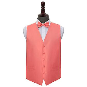 Coral Solid Check Wedding Waistcoat & Bow Tie Set