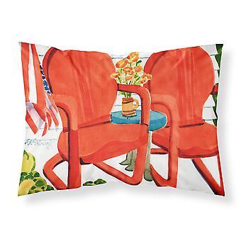 Rote Stühle Terrasse Blick Stoff Standard Kissenbezug