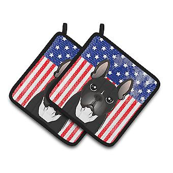 Bandiera americana e Bulldog francese coppia di presine