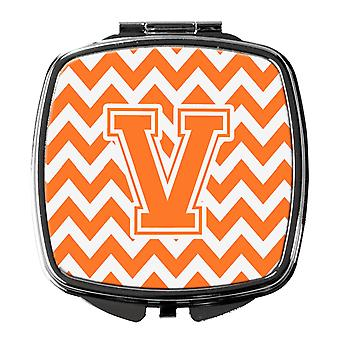 Letter V Chevron Orange and White Compact Mirror